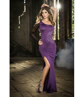 Paarse lange jurk