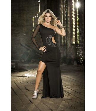 Glanzend zwarte lange jurk