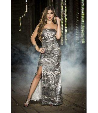 Lange strapless jurk (zilver)