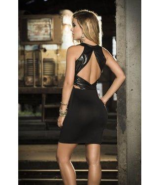 Zwart jurkje met hoge hals