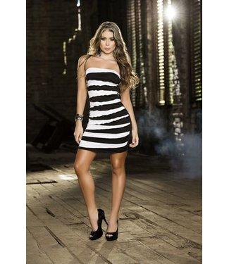 Zwart/wit gestreept strapless jurkje
