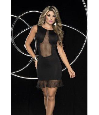 Zwarte jurk met visnet detail