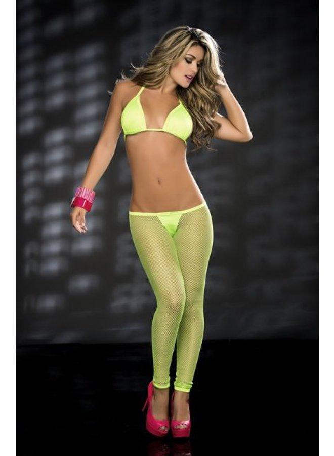 Hot green legging met visnet detail