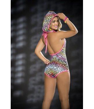 Espiral Lingerie Bodysuit roze met luipaard print