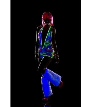 Neon bodysuit met open rug