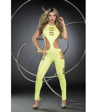 Espiral Lingerie Blacklight jumpsuit/catsuit hot green