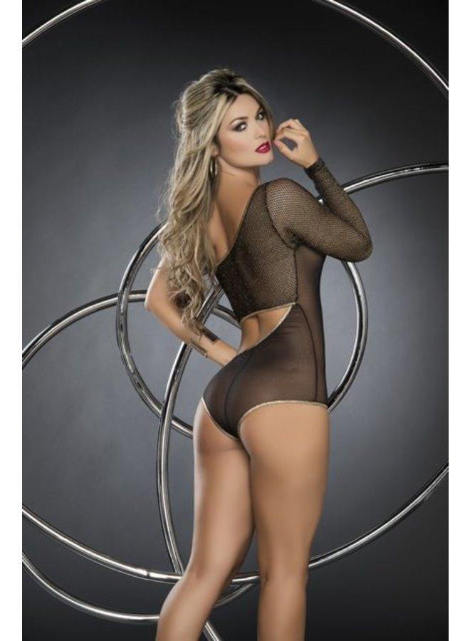 Zwart bodysuit met visnet-look mouw