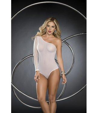 Witte bodysuit met visnet-look mouw