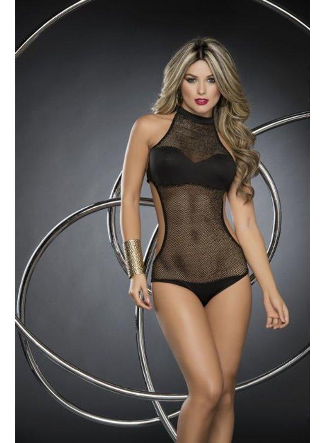 Zwart-visnet-look bodysuit