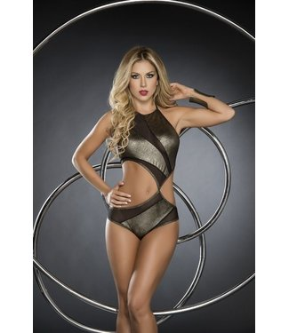 Espiral Lingerie Bodysuit met hoge hals goud