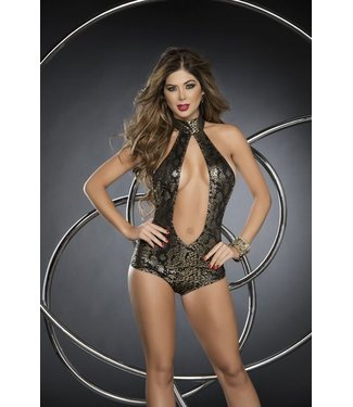 Sexy open bodysuit metallic goud
