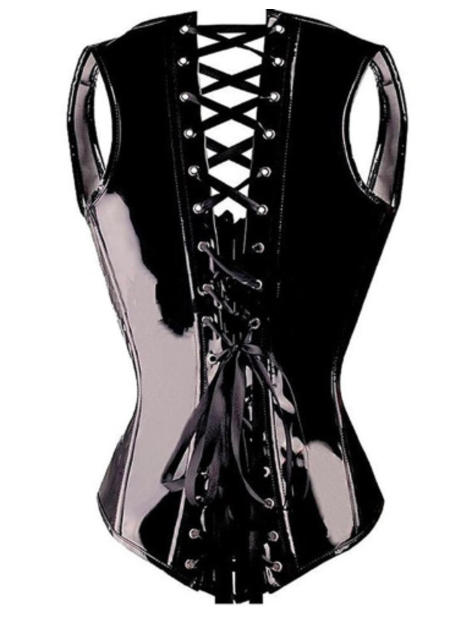 Zwart lak corset (underbust)