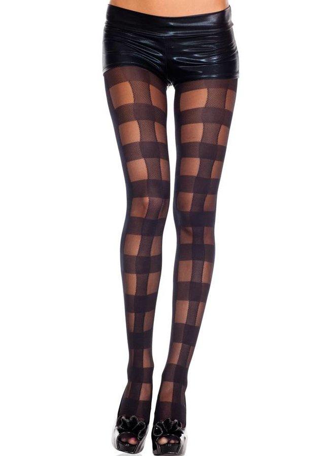 Zwarte panty met geruit ontwerp