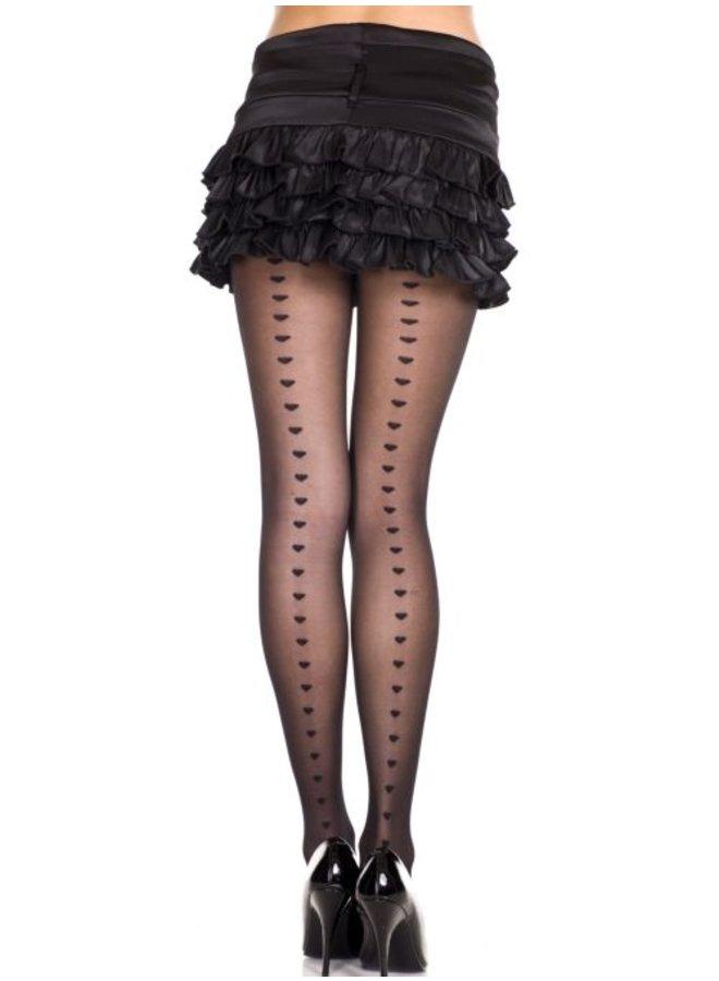 Zwarte panty met hart-detail