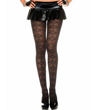 Music Legs Zwarte panty met ruitjes