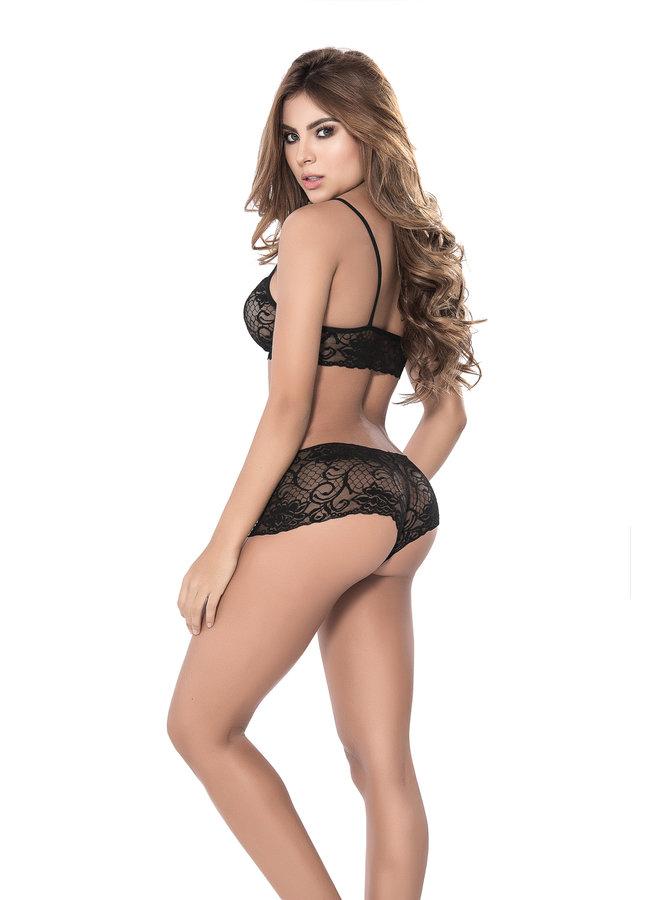 Sexy kanten top en broekje (black)