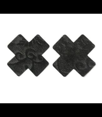 Tepelplakkers zwart kant (kruis)
