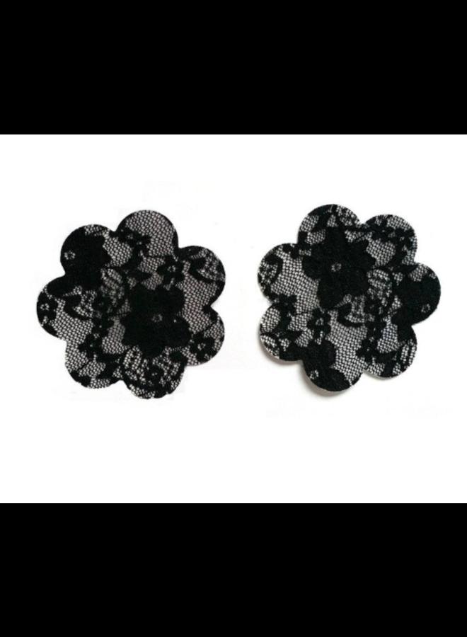 Tepelplakkers zwart kant (bloem)