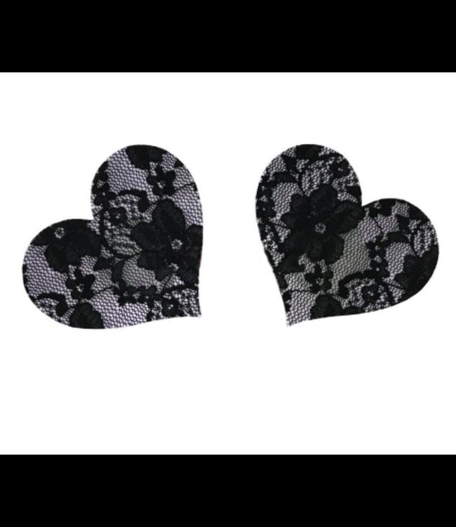 Tepelplakkers zwart kant (hart)