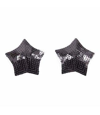 Zwarte tepelplakkers met pailletten (ster)