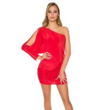 Rood asymmetrisch jurkje