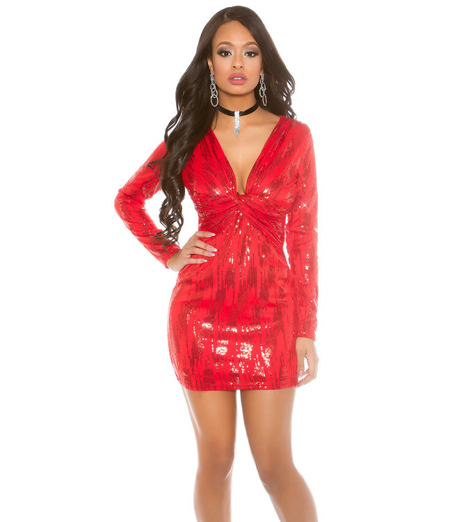 Rood glitter mini-jurkje