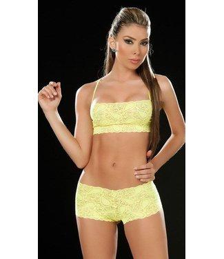 Espiral Lingerie Sexy kanten top en broekje (hot yellow)