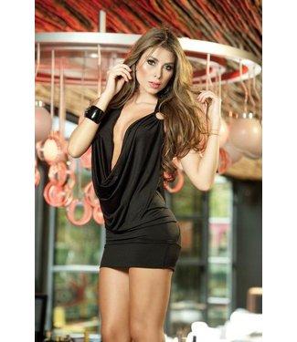 Sexy zwart waterval jurkje