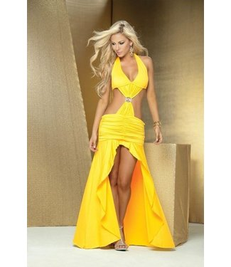 Sexy gele lange halter jurk