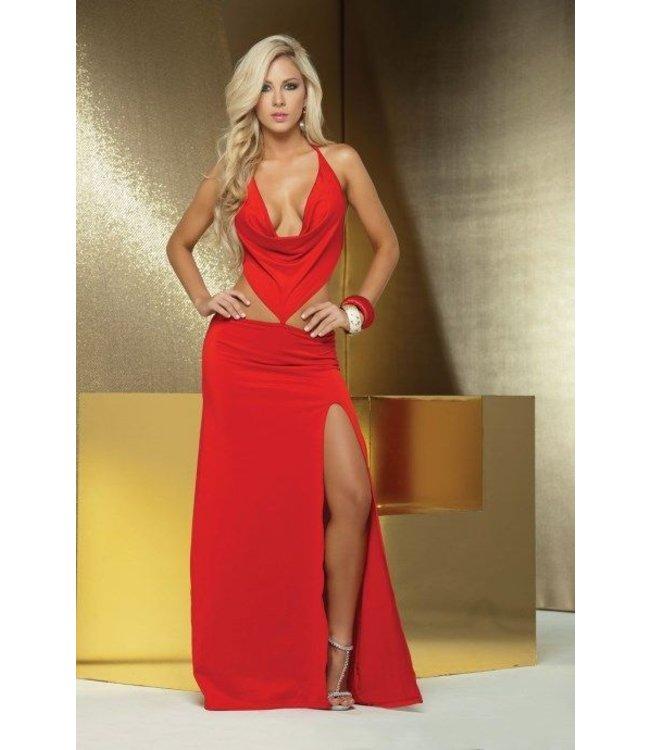 goedkope prijs pre-order Britse beschikbaarheid Sexy lange rode waterval jurk