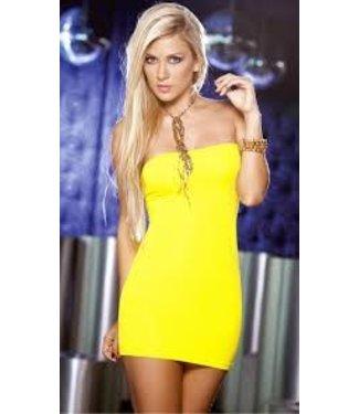 Sexy strapless geel jurkje