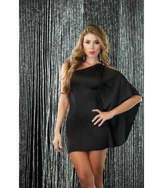 466924c3818300 Espiral Lingerie Sexy asymmetrisch zwart jurkje