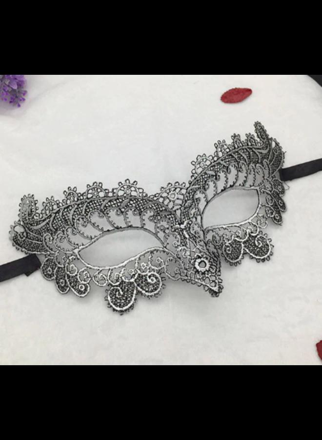 Venetiaans masker zwart/zilver
