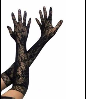 Lange handschoenen van kant (zwart)