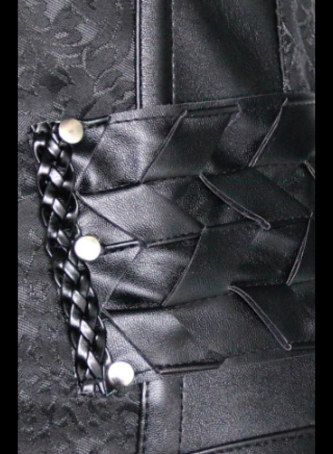 Leatherlook underbust corset met rits