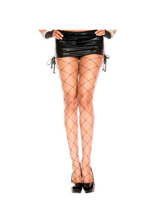 Grove netstof panty (zwart)