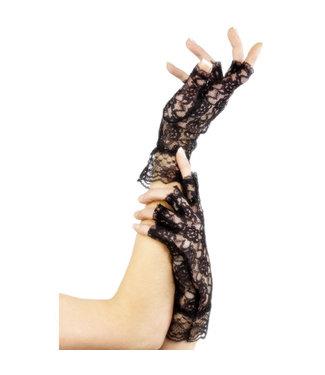 Fever Hosiery Korte zwarte vingerloze handschoentjes van kant