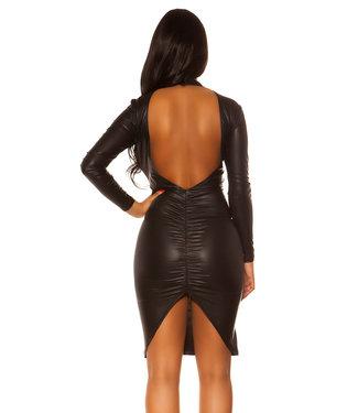 Zwarte wetlook jurk met lange mouw