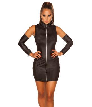 Zwart jurkje met rits en losse mouwen