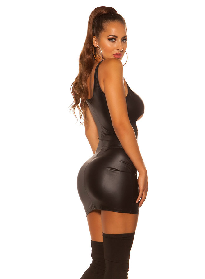 Zwart 'underboob' wetlook jurkje