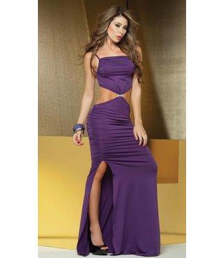 Sexy lange paarse jurk met open details
