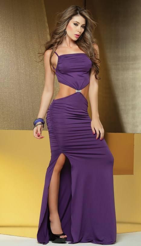 donker paarse jurk