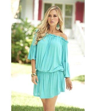 Zomers turquoise strapless jurkje