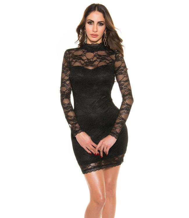 Kanten jurkje met hoge hals en open rug (zwart)