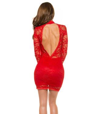 Kanten jurkje met hoge hals en open rug (rood)