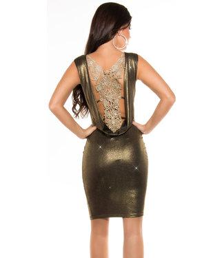 Metallic jurkje met gehaakte open rug (gold)