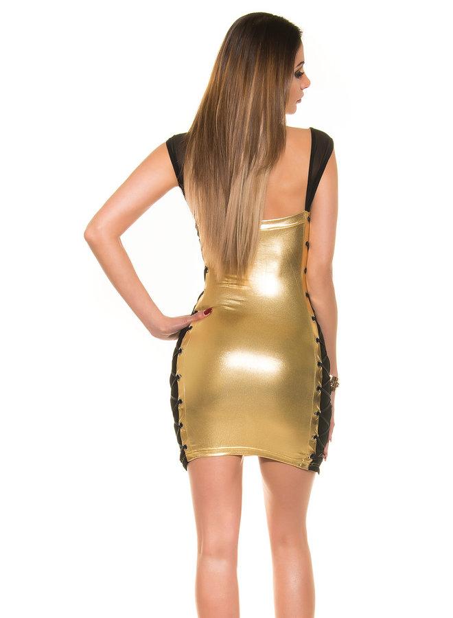 Goud jurkje met veterdetail