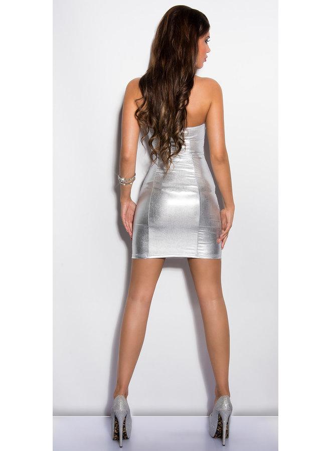 Strapless jurkje zilver