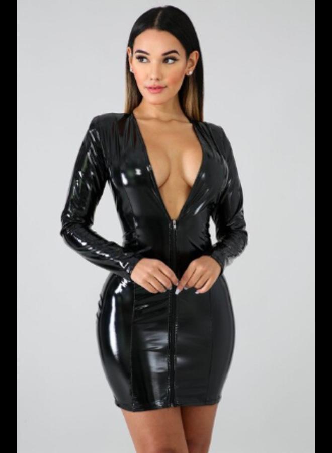 Zwart latex-look jurkje