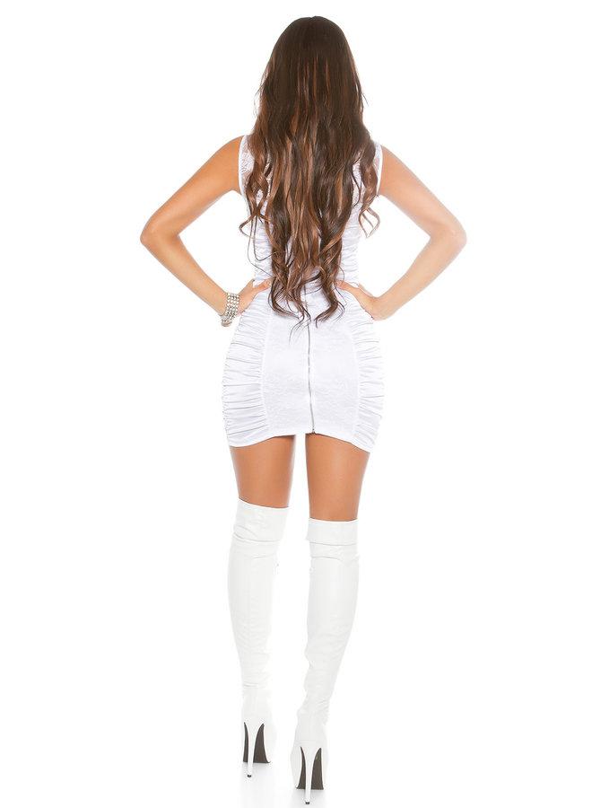 Wit glimmend jurkje met kant